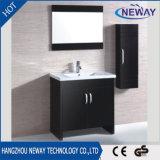 Module simple noir de vanité de salle de bains en bois solide de Module de miroir