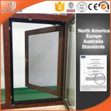 Finestra solida placcata di alluminio di alluminio di legno di quercia di tecniche del rivestimento della polvere della finestra di inclinazione & di girata della rottura termica