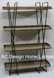 4つの層の旧式な型の装飾的な木または金属の記憶の棚