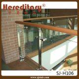 De muur zet de Roestvrij staal Aangemaakte Leuning van de Trede van het Glas (op sj-H980)