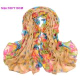 Grande Size Pretty Flower Design Voile Scarf per Lady