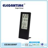 Orologio del ridurre in pani dell'allarme dell'affissione a cristalli liquidi con il termometro e l'igrometro dell'indicatore del tempo