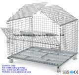 Подгонянная клетка ячеистой сети штабелируя контейнер паллета сетки хранения с крышкой