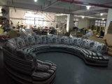 Grosse u-lederne Sofa-Möbel für Salon-Möbel mit Tasten-Entwurf (W7024)
