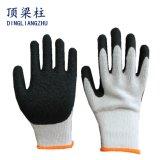 gants enduits de sûreté de latex de pli de 10g Polycotton avec la bonne qualité