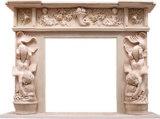 디자인된 새겨진 석회석 백색 대리석 벽난로 벽로선반