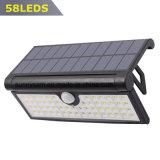 Faltbares 58 Bewegungs-Fühler-Wand-Licht-im Freiengarten-Yard-Lampe der LED-3W Sonnenenergie-PIR