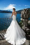 Безрукавный Bridal платье венчания H1890 пляжа Tulle Mermaid шнурка мантии