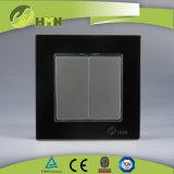 TUV CE CB Европейский стандарт сертифицированных закаленного стекла 2 токопроводящей дорожки 1 контактного разъема черного цвета переключателя на стене