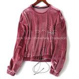 399~Autumnは新しく豊かなレトロの現代ビロードのHoodiesの灰色の衣服の潮をインストールする