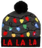 El invierno de encargo Nevado del sombrero de las mujeres enciende la toca hecha punto roja de la gorrita tejida de Santa