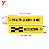 Entfernen, bevor Flug-Schlüsselketten-Gepäck-Marken-Zug gesponnene Stickerei Keychain (YB-e-028)