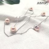 Lange Halsketten-zusätzliche Schmucksachenzircon-Stein-Einlegearbeit-Rosa-Perlen-Halsketten-Kette für Frauen