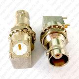 Connecteur à angle droit du support rf de carte de cloison étanche de noix carrée de chevilles du connecteur femelle 4 de BNC