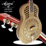 Guitarra de bronze antiga do ressonador de Aiersi Bell com a caixa dura da guitarra