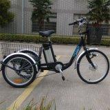Большой велосипед 3 колес с задней корзиной для старейшини