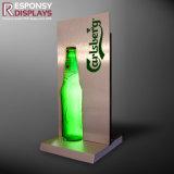 Metal contrario vendedor caliente de la botella de cerveza y sostenedor de acrílico de la visualización con la luz para el vino