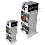 Affichage de comptoir en carton rotatif avec les crochets dans les 4 côtés adapté pour les chaussettes, filature Personnalisé 4 côtés d'affichage de chaussettes de Chine