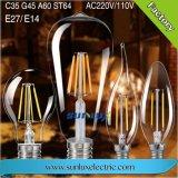 E27 4W 6W 12W Edison A60 Ouro/Prata LED de luz da lâmpada de incandescência