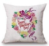 Het gelukkige Katoenen van de Dag van Valentijnskaarten Linnen werpt de Dekking van het Kussen van het Hoofdkussen (35C0229)