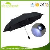 Parapluie compact de la course DEL de pliage de qualité de 8 côtes