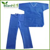 Свет - голубые SMS Scrub костюм с белой вязкой, 3 карманн