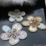 Bordados de Flores Rhinestone 3D cordões Sequin Patches Crystal para acessórios de vestuário