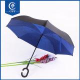 De hete Omgekeerde Omgekeerde Paraplu van de Verkoop keerde Paraplu van de Auto's van het Handvat van de Vorm Umbrella/C binnenstebuiten de Hand Omgekeerde Rechte om
