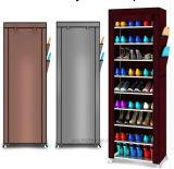 9 das Reihe-Schuh-Regal-Segeltuch-Gewebe-Schuh-Zahnstangen-Speicher-Schrank-Schiene bereift den Organisator-Reißverschluss, der steht Sapateira Organizador Möbel (FS-02A)