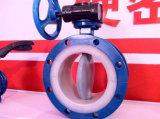 Válvula de mariposa alineada PTFE anti del corrosivo (PTFE/PFA/FEP/PO)