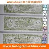 Etiqueta adhesiva estampada caliente del holograma de la Anti-Falsificación