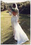 Длинные рукава устраивающих платье страны Бич простой кружево свадебные платья W52215