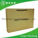 A compra barata feita sob encomenda luxuosa do vestuário recicl o saco do papel de embalagem de Brown Com punho