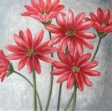 أحمر خاصّ بالأزهار زخرفة صورة زيتيّة - نوع خيش جدار فنية