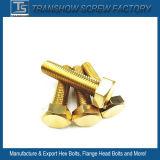 M8X50 Revêtement en laiton de couleur jaune boulon à tête hexagonale et écrou