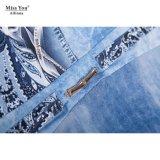 Chemise bleue de dames de Mlle You Ailinna 101504 la longue chiffonnent la robe avec la mousseline de soie