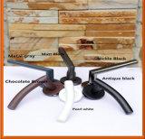 Punho de alavanca de porta de cetim acabado sólido para portas de madeira