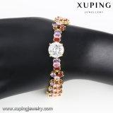 Pulsera de piedra colorida de lujo del Zircon de la joyería de Xuping de 74652 maneras en el oro 14k plateado