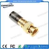 Câble coaxial RG6 Compression CCTV Fiche BNC mâle du connecteur (TC5078G/RG6)