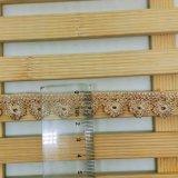 Cordón de nylon de Plumflower de la suposición del recorte del bordado del poliester del cordón del nuevo del diseño de la fábrica de las existencias de la venta al por mayor el 1.5cm bordado de la anchura para el accesorio de la ropa y las materias textiles caseras