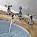 Plattform hing doppelte Griff-Badezimmer-Hahn-quadratische Badezimmer-Hähne ein