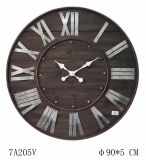Reloj redondo de madera de la antigüedad (vendimia) con No# galvanizado