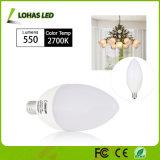 O mercado dos EUA branco leitoso 6W E12 E14 de intensidade da Lâmpada Vela LED com marcação RoHS UL