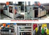 Moldeo por insuflación de aire comprimido de la botella del HDPE que hace la máquina
