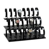 Présentoir acrylique noir ou clair pour le bracelet de bijou, montres. Capacité 18, rangée 3