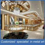 ショッピングモールのためのカスタマイズされた304#赤い青銅色のステンレス鋼の宝石類の表示ショーケース
