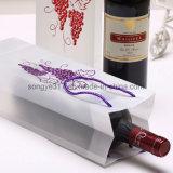 Saco translúcido carregado dobro do presente da bolsa do vinho vermelho da uva do ouro