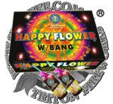 Flor feliz con chisporroteo de fuegos artificiales