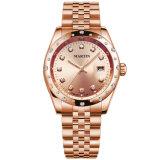 Quartz方法女性ステンレス鋼Wirstは美しいダイヤモンドの女性の腕時計を見る