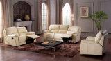 Heiß-Verkauf moderne Möbelbeige ledernes manuelles Recliner-Sofa (HC011)